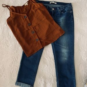 New Levi's 524 cropped jeans cuffed